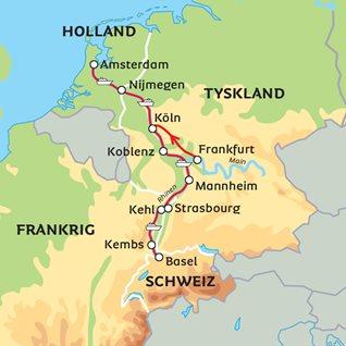 Flodkrydstogt på Rhinen med Köln, Amsterdam og Basel