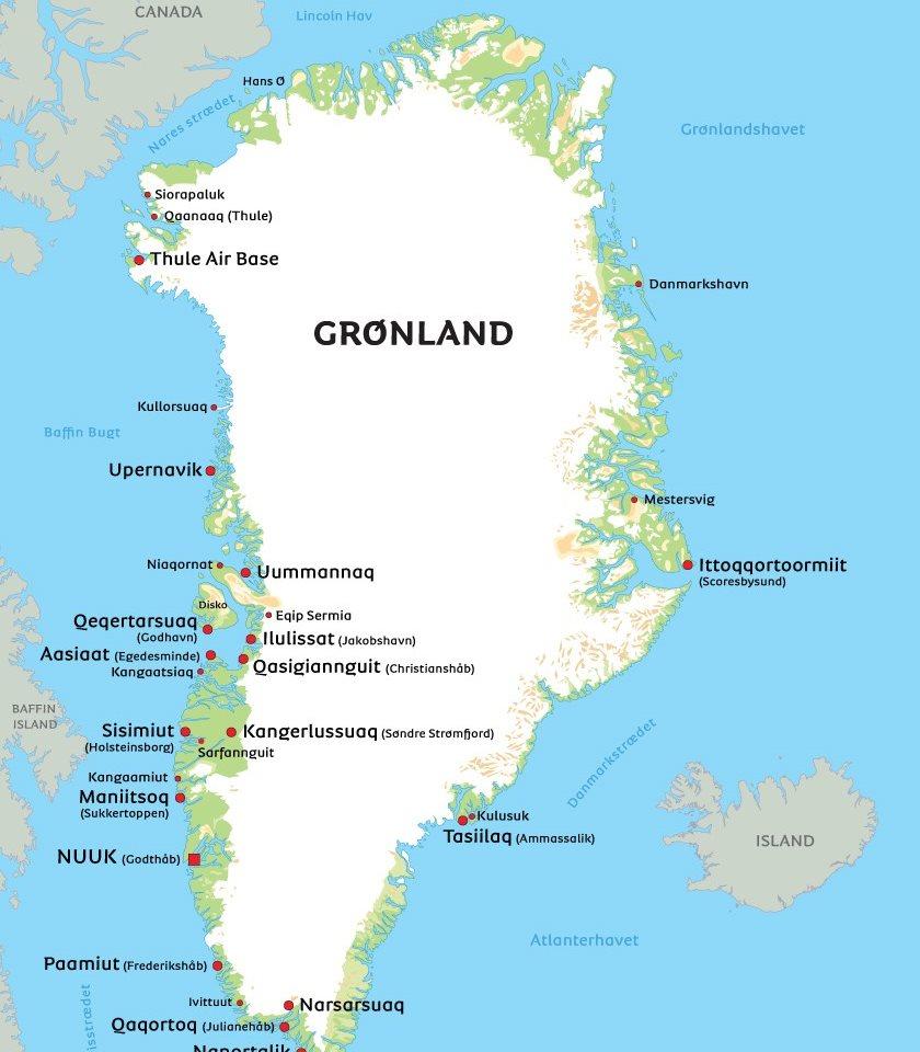 kort over grønland