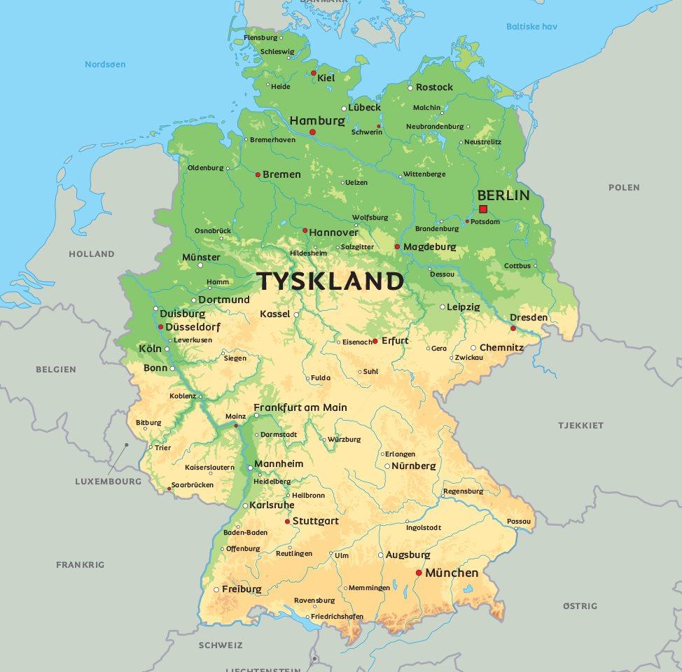 Kort Tyskland: se bl.a. placeringen af Berlin, München og Hamborg