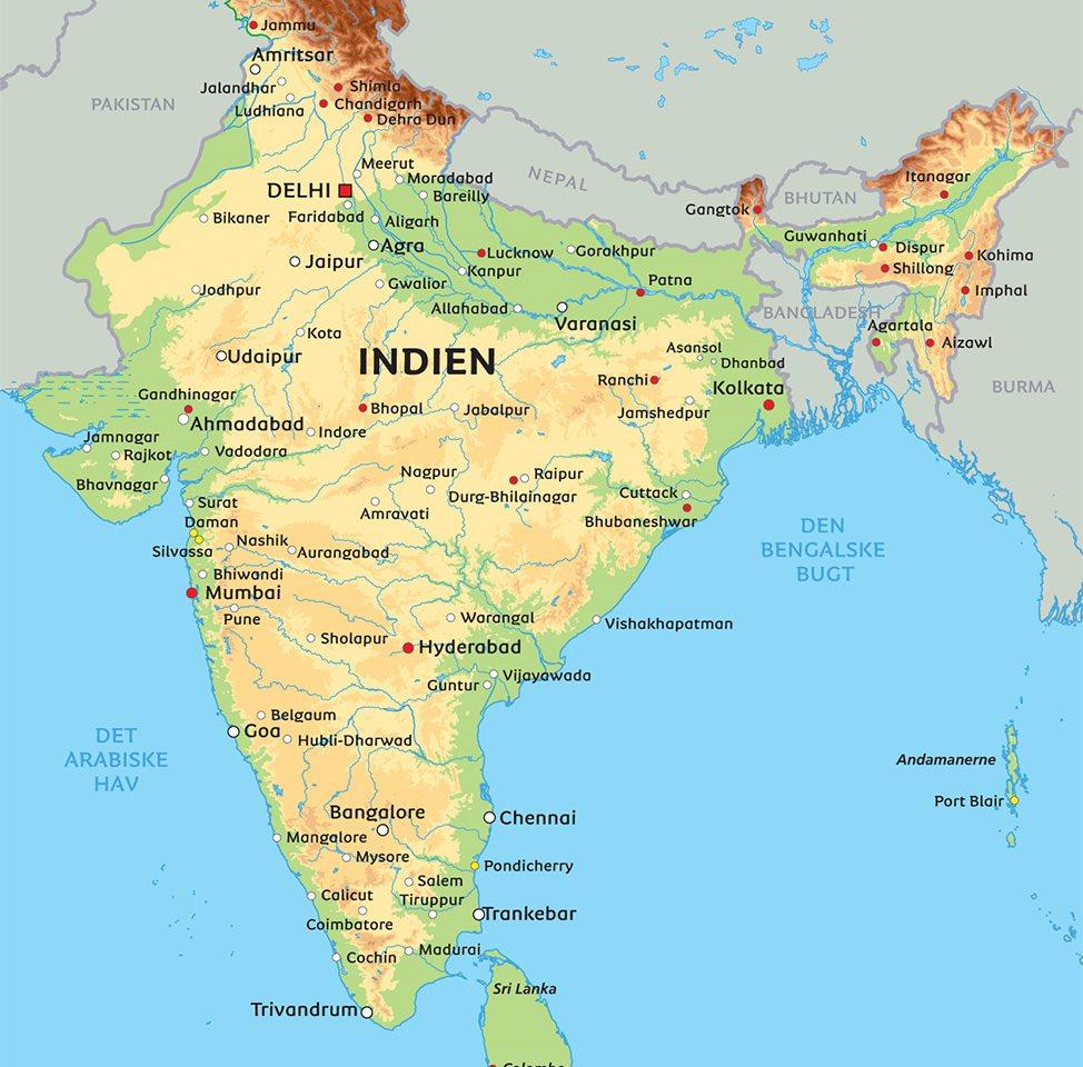 Kort Indien: se bl.a. placeringen af Delhi og Chennai