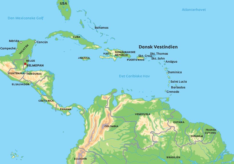 dansk vestindiske øer kort Kort Dansk Vestindien: se de største byer, f.eks. Charlotte Amalie