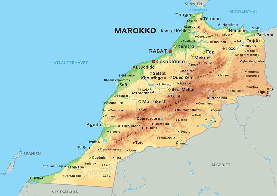Kort over Marokko: se bl.a. beliggenheden af Marrakech