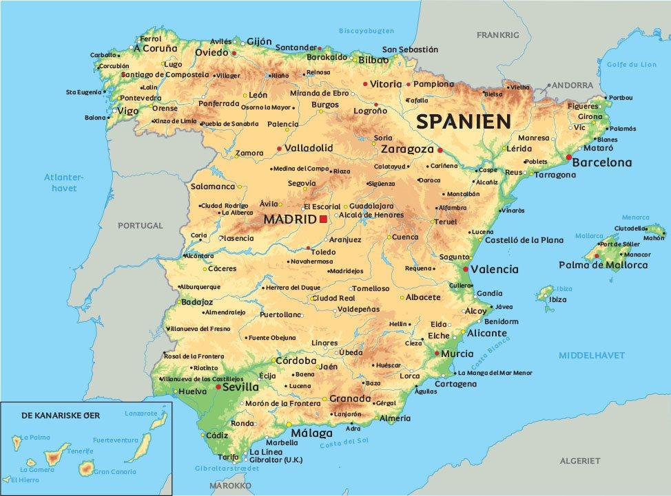 Kort Spanien: Se bl.a. placeringen af Madrid og Barcelona