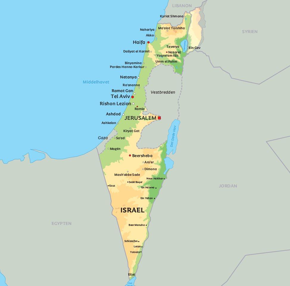 Kort Israel: Find de største byer og seværdigheder i Israel på dette kort